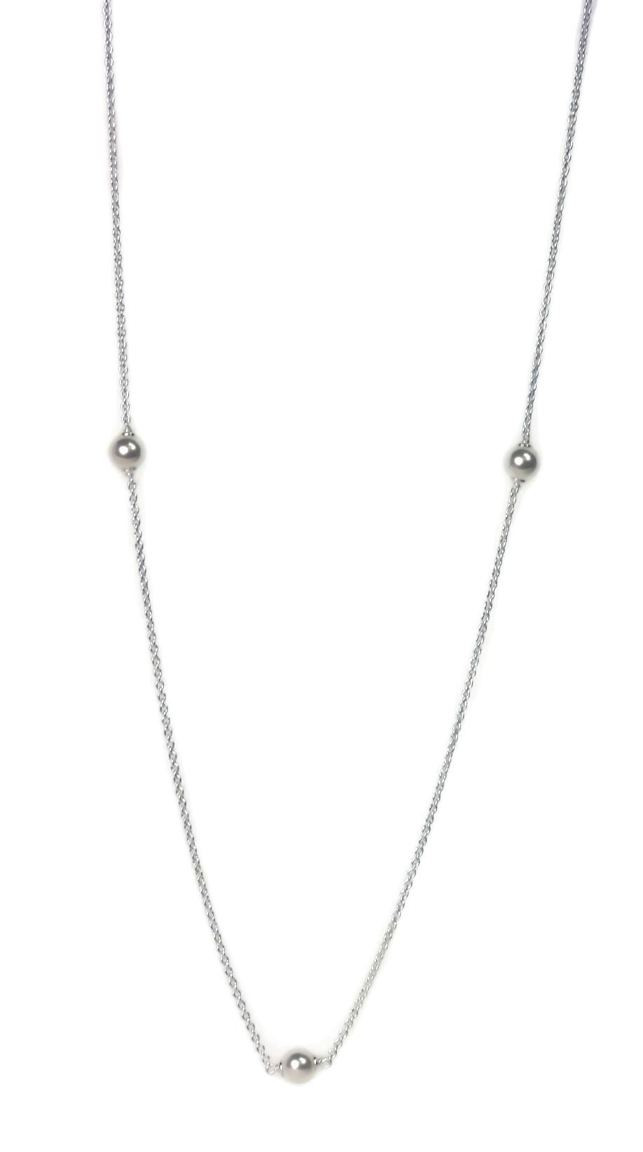 66d1de21f PANDORA Luminous Dainty Droplets, White Crystal Pearl 590539WCP-80. Droplets  of white crystal pearls cascade down an 80 cm chain on this gracefully edgy  ...