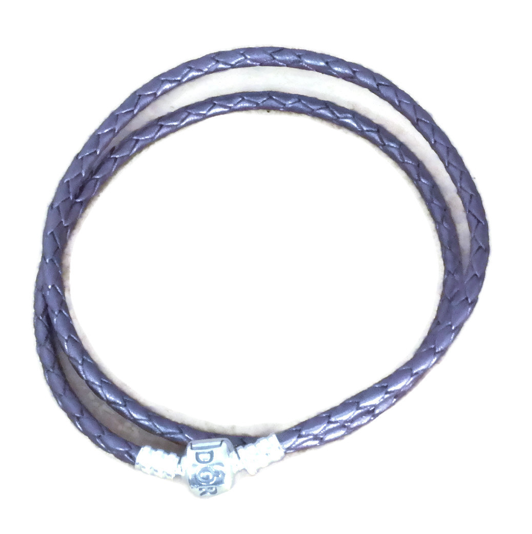 56a950948 A lust-have, the Pandora Lilac Double Wrap Leather Bracelet is simply  divine. Made from woven leather in soft lilac and finished with a stunning  sterling ...